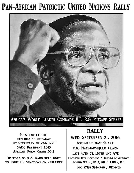 Rally at 8am, Sept 21, 2016 to Support R.G. Mugabe & All Zimbabweans!