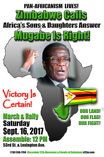 The December 12th Movement International Secretariat is organizing a major march and rally in support of Zimbabwe on September 16, 2017, during the upcoming UN General Assembly session.