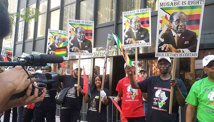Rally for Zimbabwe and President Mugabe at the United Nations on September 21, 2017.