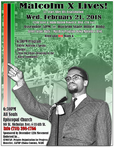 Malcolm X Lives! a program and march on February 21, 2018 in Harlem, NY.