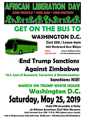 Get On The Bus To Washington, DC to End Trump Sanctions Against Zimbabwe!