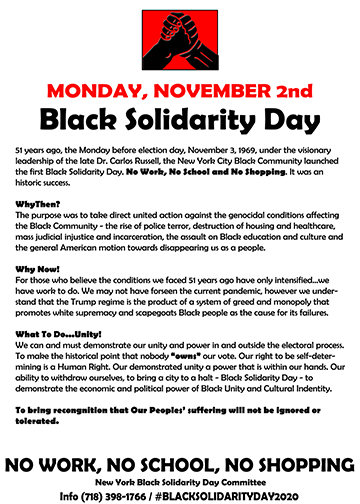 Black Solidarity Day 2020 text