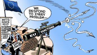 Cartoon on EU Sanctions drawn by Nath (1970)