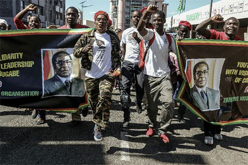 Zimbabwean Youth Rally for President Mugabe