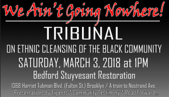We Ain't Going Nowhere! Tribunal on Ethnic Cleansing of the Black Community